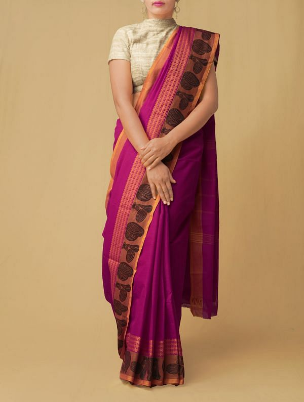 Online Shopping for Purple Pure Handloom Kanch Cotton Saree with Weaving from Tamilnadu at Unnatisilks.comIndia