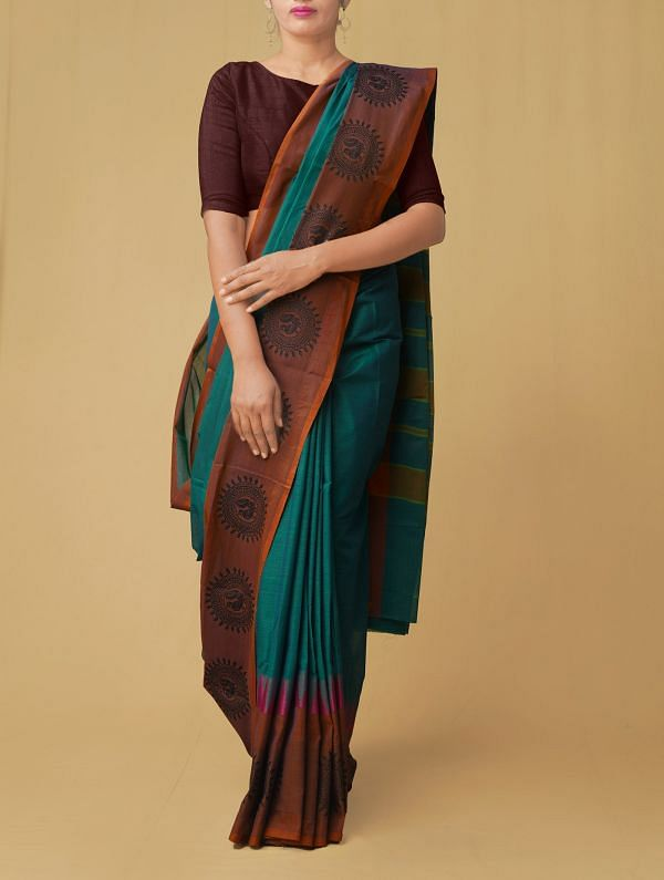 Green Pure Handloom Kanch Cotton Saree