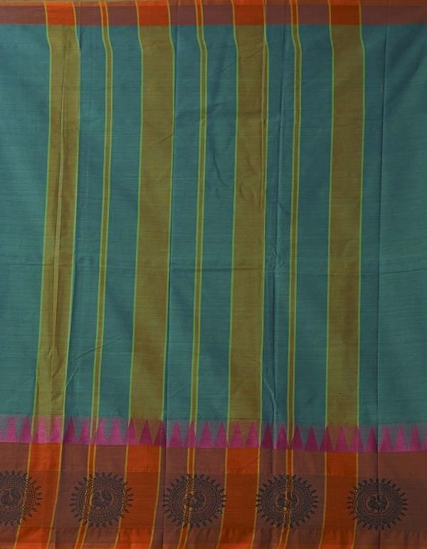 Online Shopping for Green Pure Handloom Kanch Cotton Saree with Weaving from Tamilnadu at Unnatisilks.comIndia