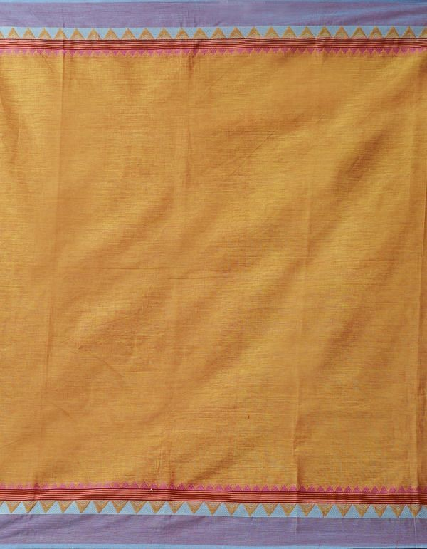 Online Shopping for Orange Pure Handloom Kanch Cotton Saree with Weaving from Tamilnadu at Unnatisilks.comIndia