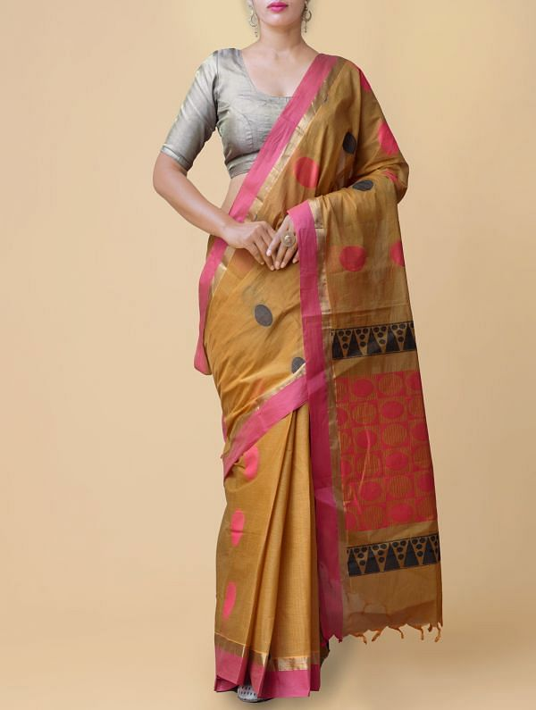 Yellow Pure Handloom Chettinad Cotton Saree