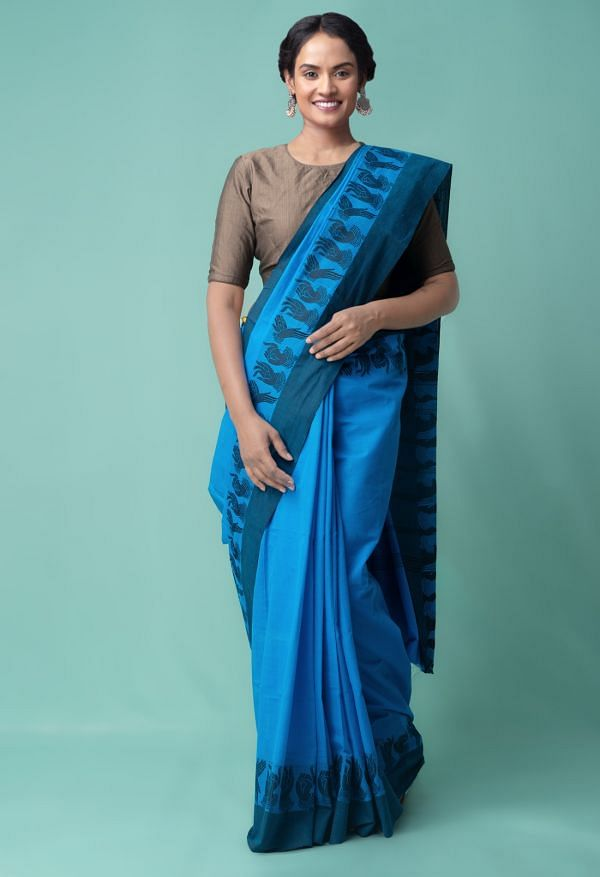 Online Shopping for Blue Pure Handloom Kanchi Cotton Saree with Fancy/Ethnic Prints from Punjab at Unnatisilks.comIndia