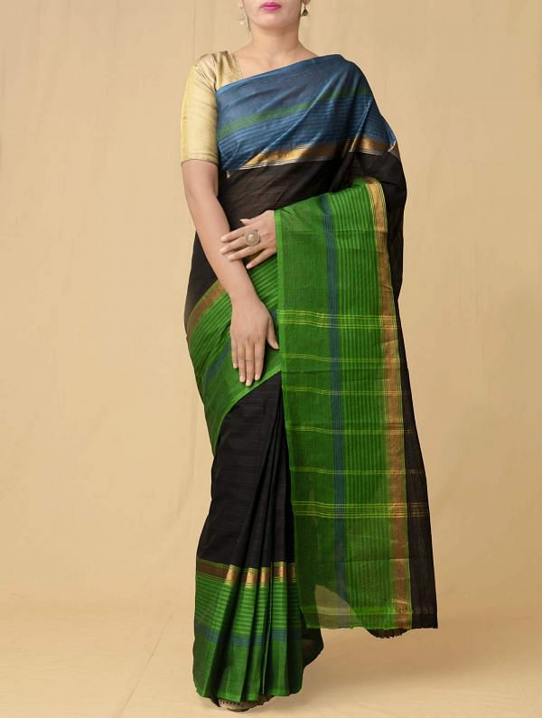 Black Pure Handloom Kanchi Cotton Saree
