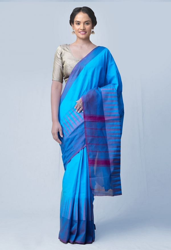 Online Shopping for Blue Pure Handloom Kanchi Cotton Saree with Weaving from Tamilnadu at Unnatisilks.comIndia