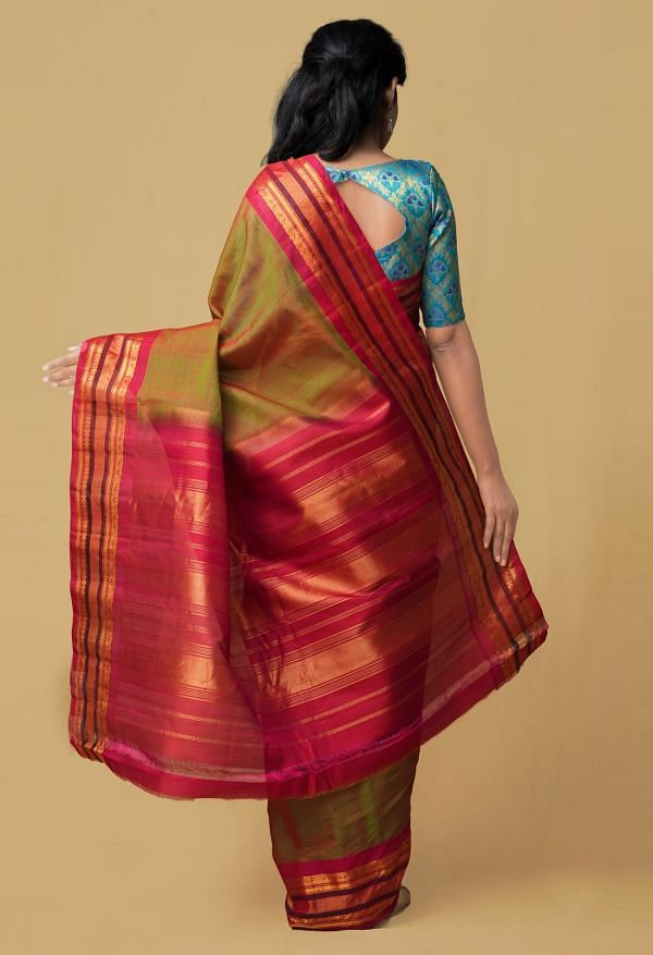 Green Red Pure Gadwal Sico Saree