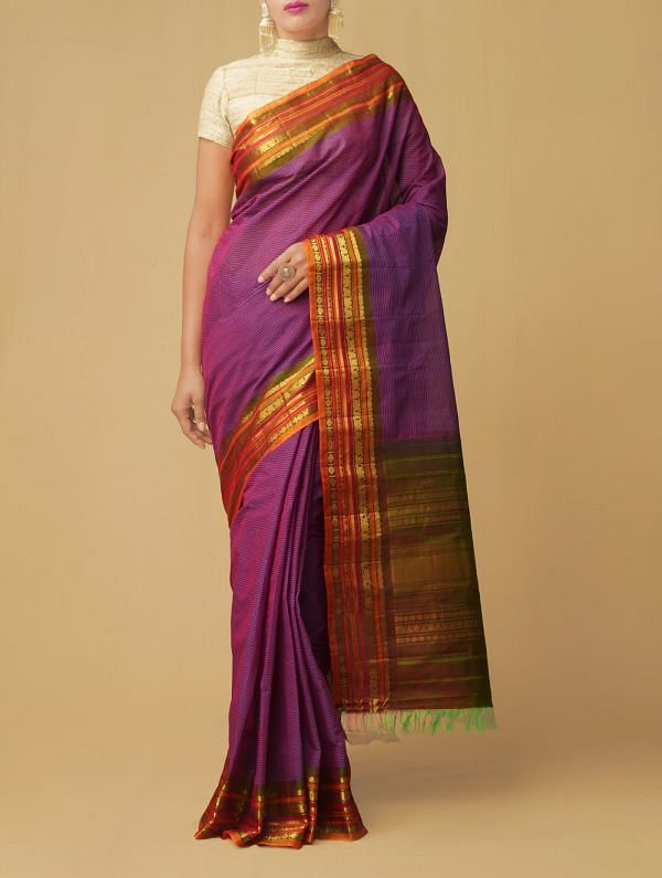 Purple Pure Gadwal Sico Checks Saree