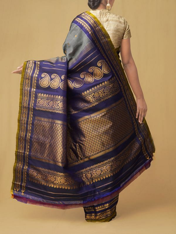 Grey Pure Gadwal Sico Saree