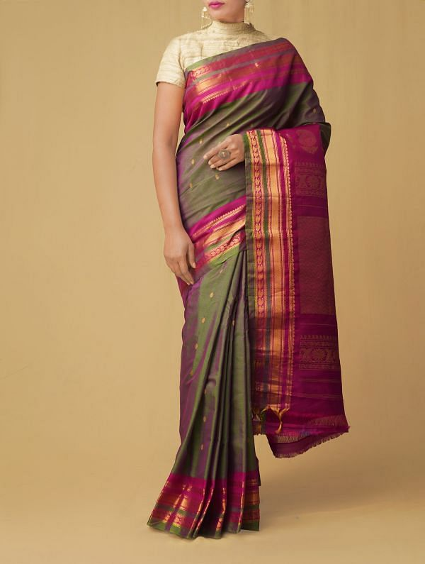 Green-Pink Pure Gadwal Sico Saree