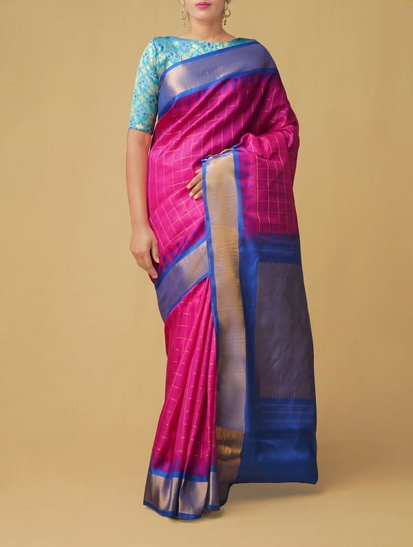 Pink Pure Handloom Gadwal Silk Checks Saree