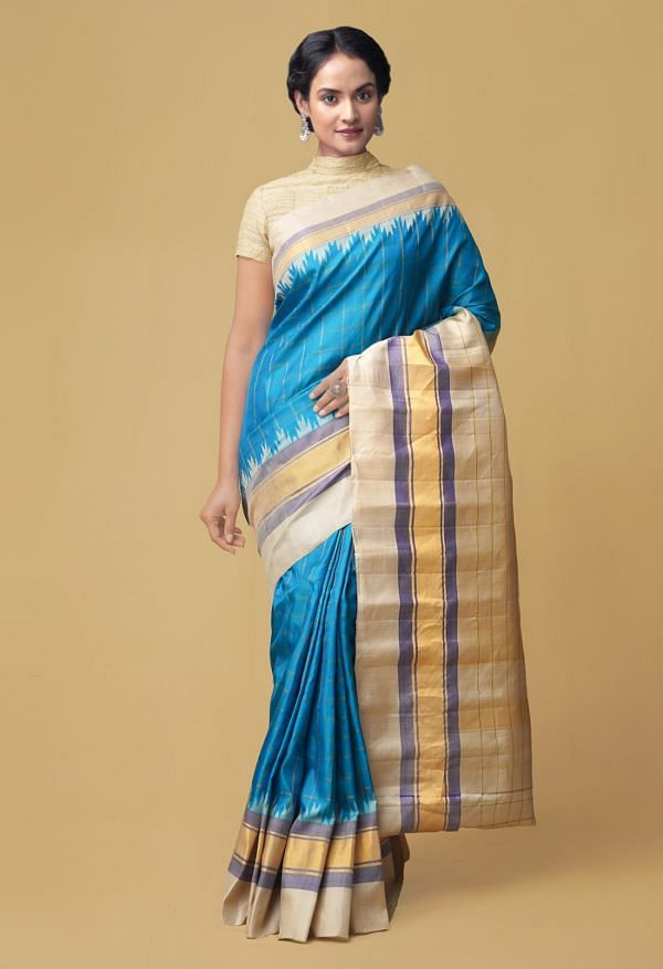 Online Shopping for Blue Pure Handloom Gadwal Silk Checks Saree  with Weaving from Telangana at Unnatisilks.comIndia