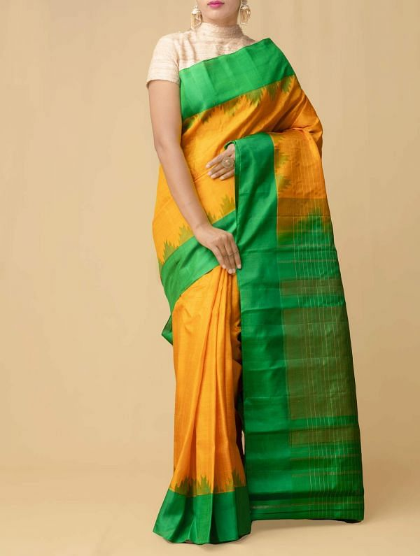 Yellow Pure Handloom Gadwal Silk Checks Saree