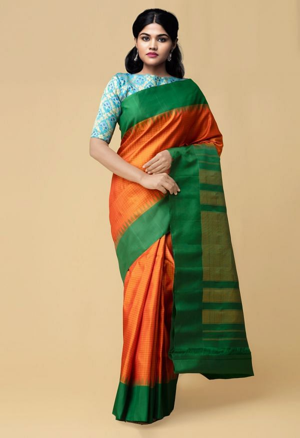 Online Shopping for Yellow Pure Handloom Gadwal Silk Checks Saree  with Weaving from Telangana at Unnatisilks.comIndia