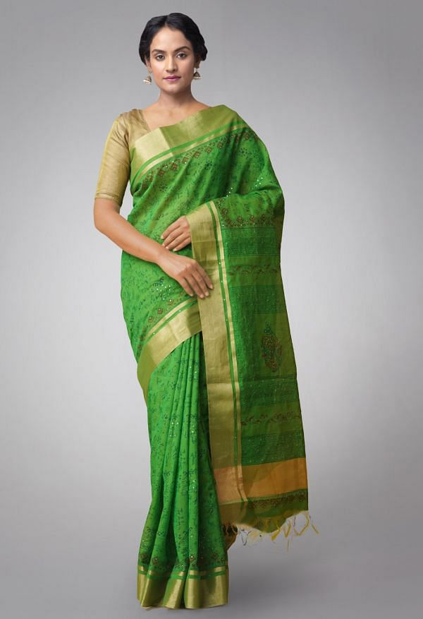 Online Shopping for Green Pure Chanderi Sico Saree with Embroidery, Hand Block Prints from Madhya Pradesh at Unnatisilks.comIndia