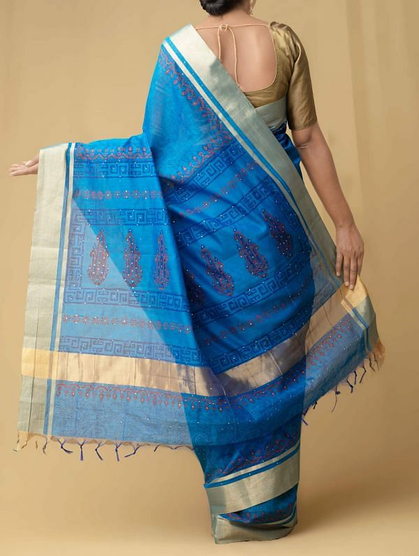 Blue Pure Chanderi  Saree