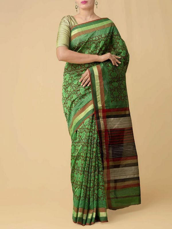 Green Pure Handloom Maheshwari Silk Cotton Saree