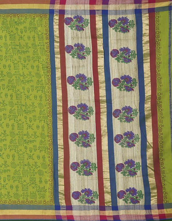 Online Shopping for Green Pure Handloom Maheshwari Silk Cotton Saree with Hand Block Prints from Madhya Pradesh at Unnatisilks.comIndia