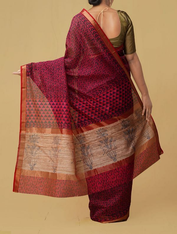 Red Pure Handloom Maheshwari Silk Cotton Saree