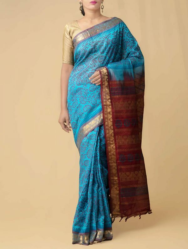 Blue Pure Handloom Uppada Silk Cotton Saree