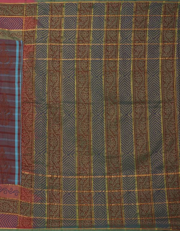 Online Shopping for Maroon-Blue Pure Handloom Uppada Silk Cotton Saree with Hand Block Prints from Andhra Pradesh at Unnatisilks.comIndia