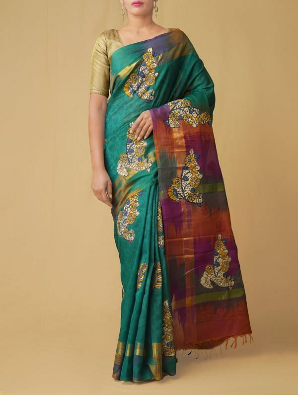 Online Shopping for Green Pure Handloom Kalamkari Pochampally Silk Cotton Saree with Hand Block Prints from Andhra Pradesh at Unnatisilks.comIndia