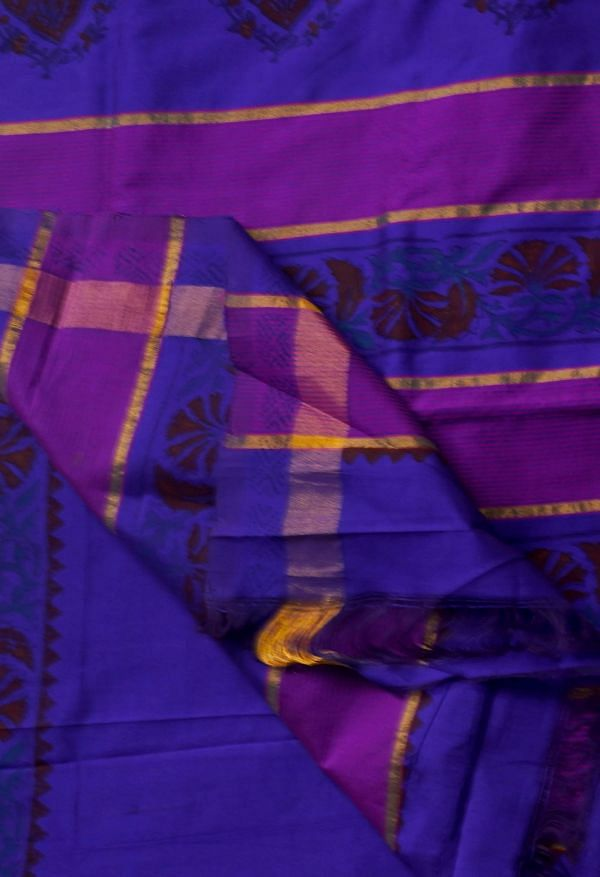 Online Shopping for Pink Pure Handloom Kanchi Silk Cotton Saree with Hand Block Prints from Tamil Nadu at Unnatisilks.comIndia