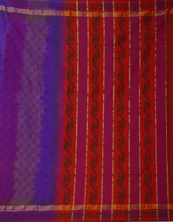 Online Shopping for Blue-Purple Pure Handloom Kanchi Silk Cotton Saree with Weaving from Tamilnadu at Unnatisilks.comIndia