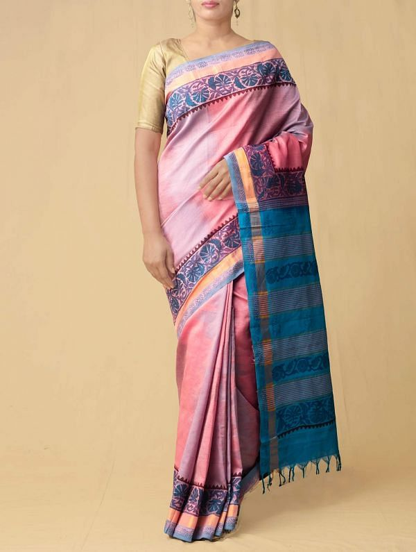 Online Shopping for Pink-Blue Pure Handloom Kanchi Silk Cotton Saree with Hand Block Prints from Tamilnadu at Unnatisilks.comIndia