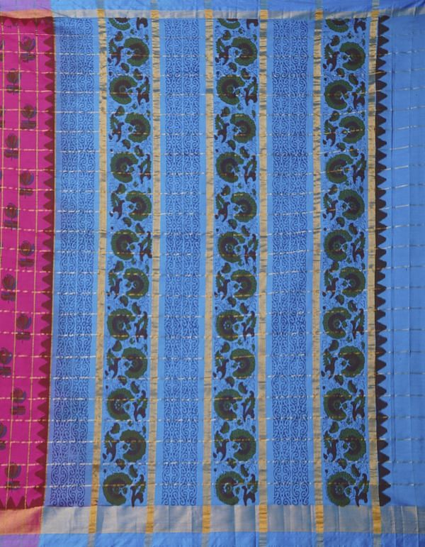 Online Shopping for Pink Pure Handloom Kanchi Silk Cotton Saree with Batik Prints from Rajasthan at Unnatisilks.comIndia