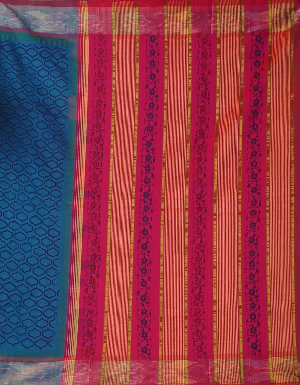 Blue Pure Handloom Pochampally Silk Cotton Saree
