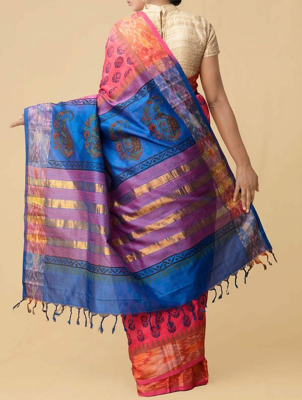Pink Pure Handloom Pochampally Silk Cotton Saree
