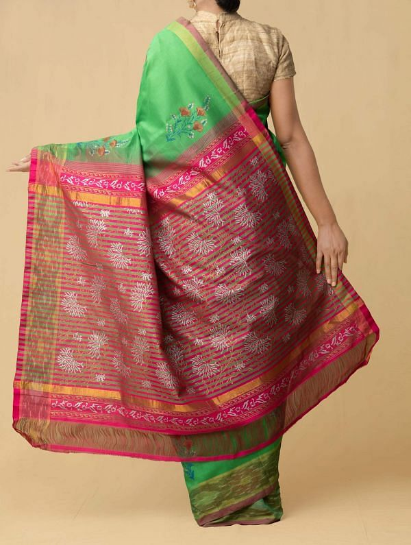 Green Pure Handloom Pochampally Silk Cotton Saree