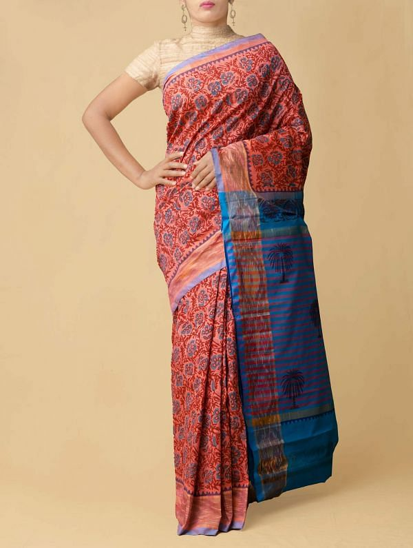 Online Shopping for Pink Pure Handloom Pochampally Silk Cotton Saree with Hand Block Prints from Andhra Pradesh at Unnatisilks.comIndia