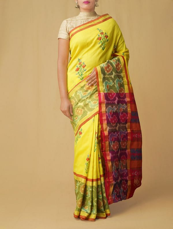 Online Shopping for Yellow Pure Handloom Pochampally Silk Cotton Saree with Hand Block Prints from Andhra Pradesh at Unnatisilks.comIndia