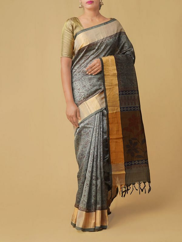 Grey Pure Handloom Kanchi Silk Cotton Saree