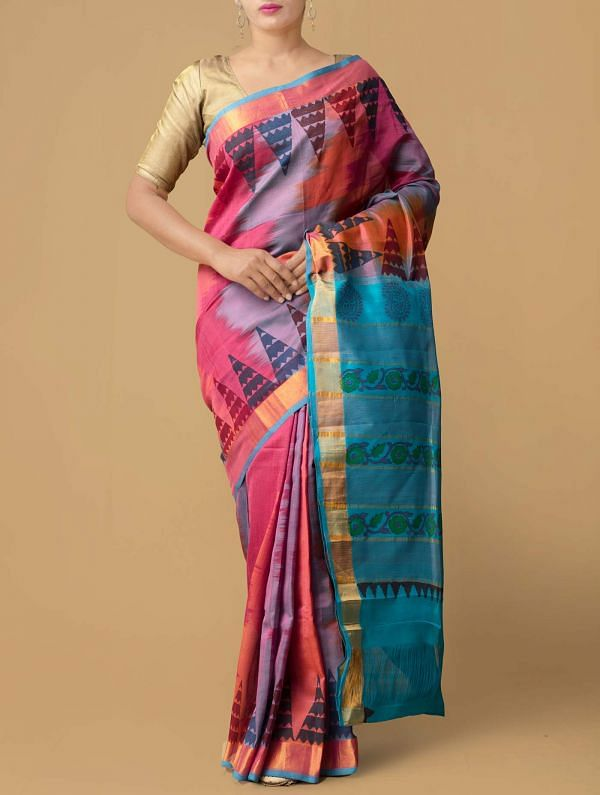 Online Shopping for Red-Blue Pure Handloom Kanchi Silk Cotton Saree with Ikat from Andhra Pradesh at Unnatisilks.comIndia