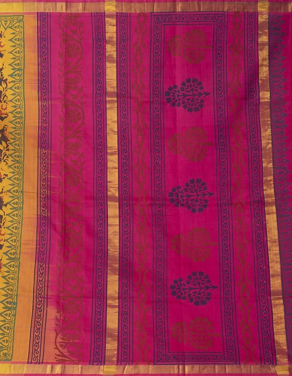 Black-Yellow Pure Handloom Kanchi Silk Cotton Saree