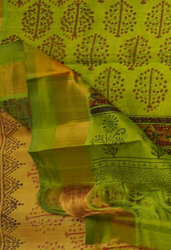 Online Shopping for Yellow Pure Handloom Kanchi Silk Cotton Saree with Hand Block Prints from Tamilnadu at Unnatisilks.comIndia