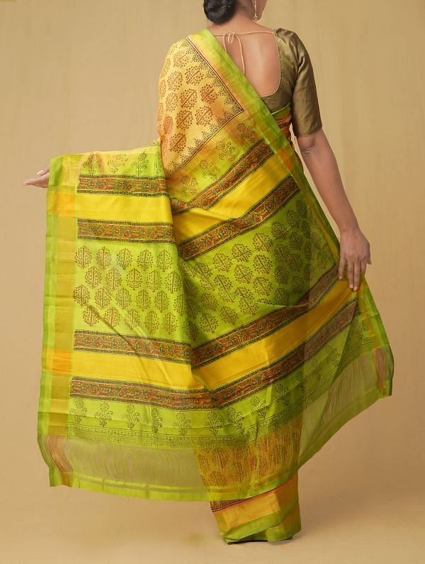 Yellow Pure Handloom Kanchi Silk Cotton Saree