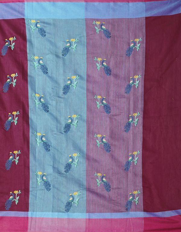 Online Shopping for Maroon Pure Cross Stitched Linen Linen Saree with Weaving from Tamilnadu at Unnatisilks.comIndia
