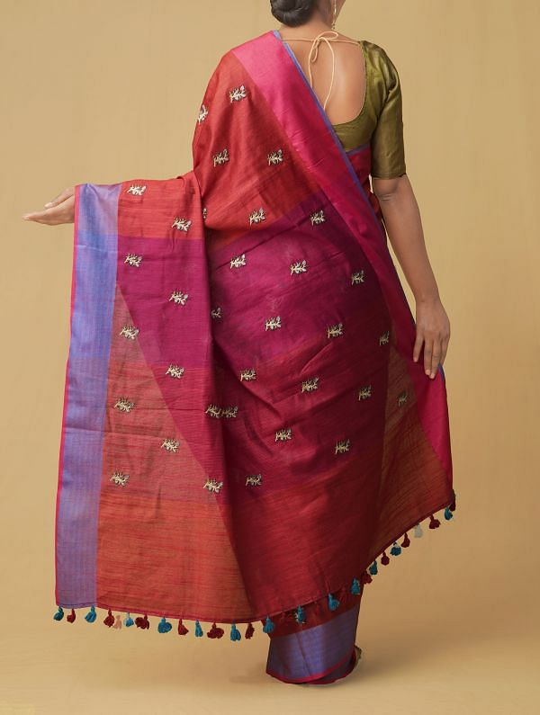 Red Pure Cross Stitched Linen Linen Saree