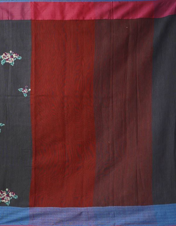 Online Shopping for Grey Pure Cross Stitched Linen Linen Saree with Batik Prints from Rajasthan at Unnatisilks.comIndia