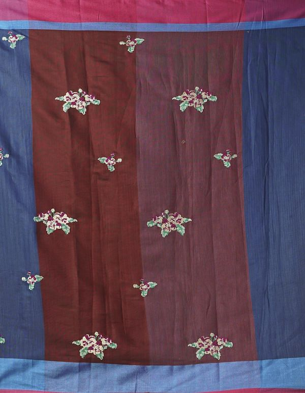 Online Shopping for Blue Pure Cross Stitched Linen Linen Saree with Batik Prints from Rajasthan at Unnatisilks.comIndia