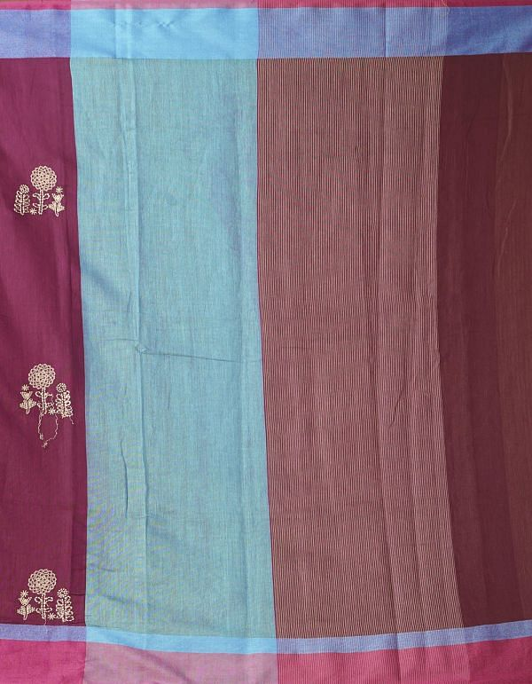 Online Shopping for Maroon Pure Cross Stitched Linen Linen Saree with Batik Prints from Rajasthan at Unnatisilks.comIndia