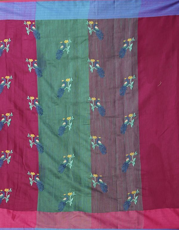 Maroon Pure Cross Stitched Linen Linen Saree