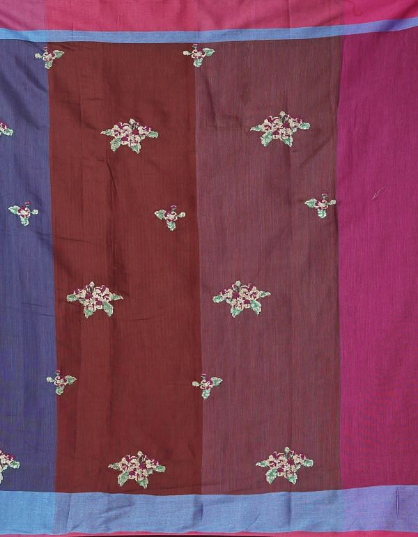 Blue Pure Cross Stitched Linen Linen Saree