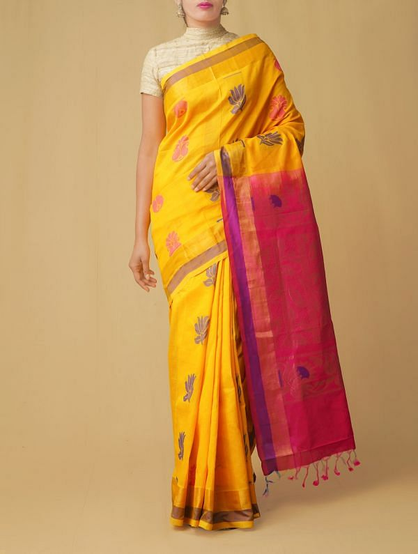 Yellow Pure Handloom Uppada Silk Cotton Saree