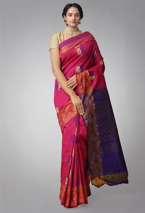 Online Shopping for Pink Pure Handloom Uppada Silk Cotton Saree with Hand Block Prints from Andhra Pradesh at Unnatisilks.comIndia