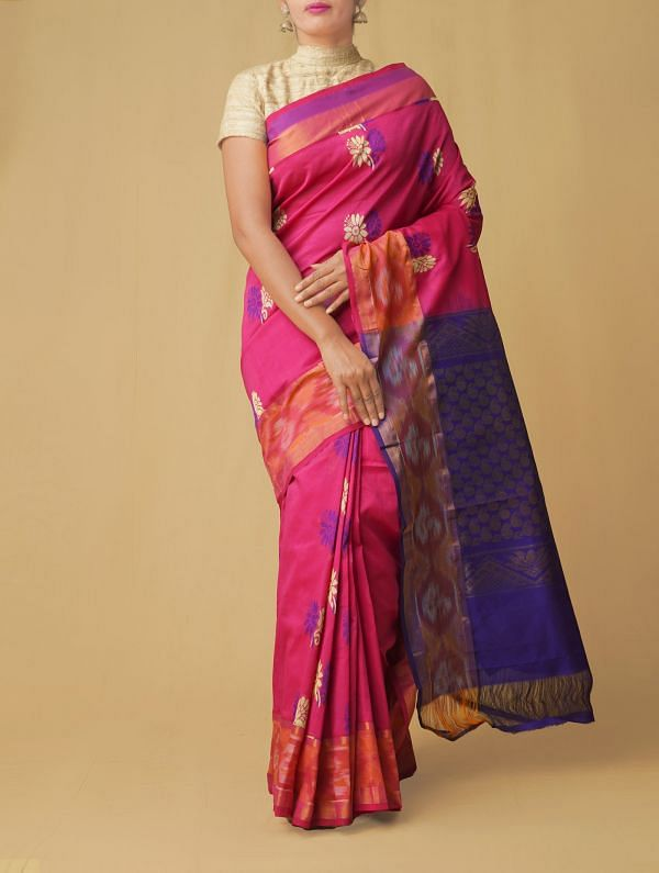 Pink Pure Handloom Uppada Silk Cotton Saree