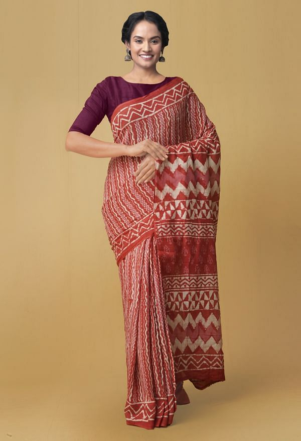 Online Shopping for Red Pure Kota Cotton Saree with Dabu from Rajasthan at Unnatisilks.comIndia