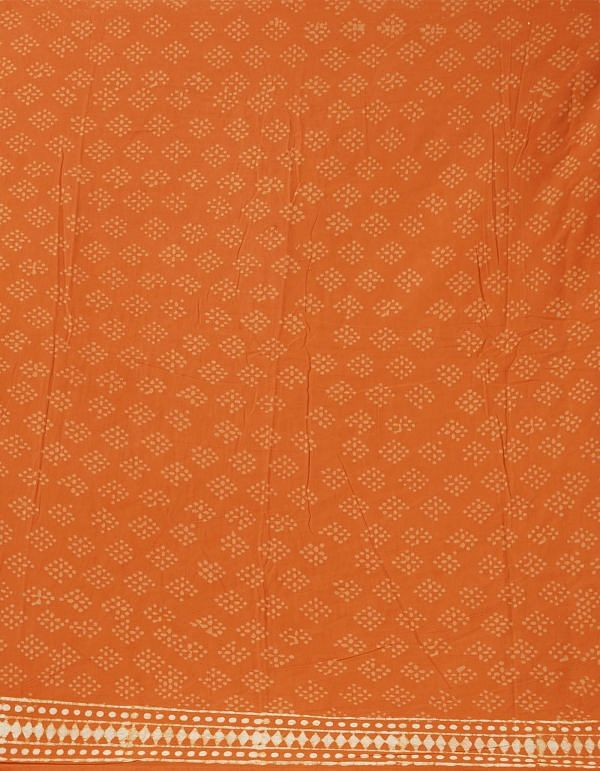 Online Shopping for Orange Pure Kota Cotton Saree with Dabu from Rajasthan at Unnatisilks.comIndia